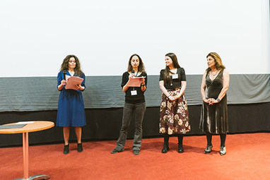 Penia Kalofolia, director of i.P.A.S. Film Festival - Maria Koliopoulou, Co-ordinator and Lia Stamopoulou, member of The Default Project