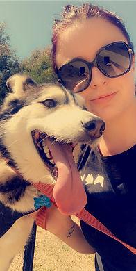 Savannah Hunt and Elly the Husky
