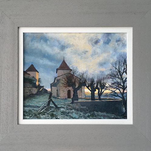 Charentais church on a winter morning