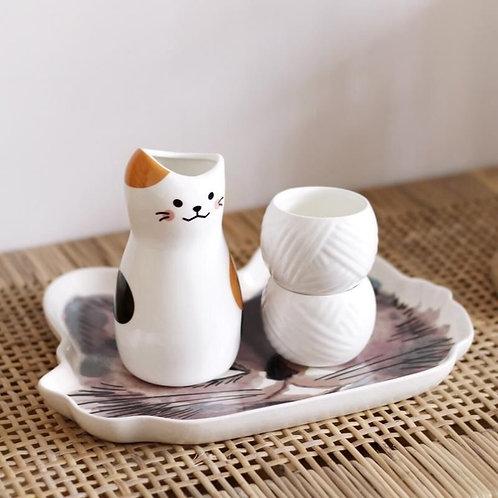 貓咪清酒壺+酒杯套裝