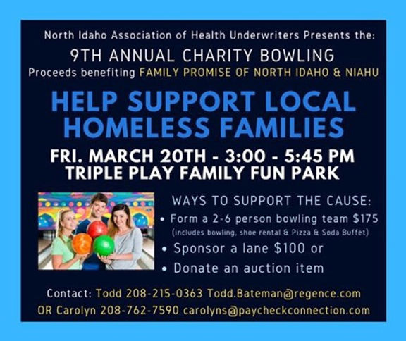 9th Annual Charity Bowling - 20 Mar 2020