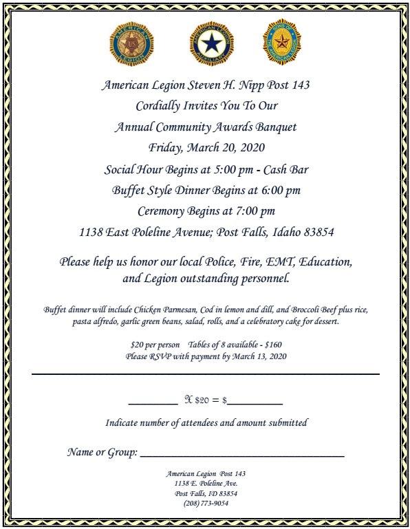 AL 143 Community Awards Banquet Invite 2