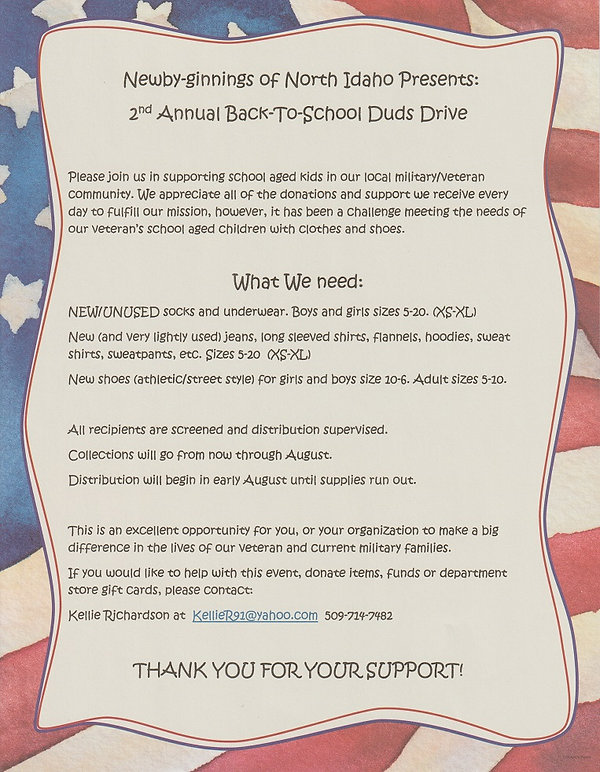 2nd Annual Back To School Duds Drive - A