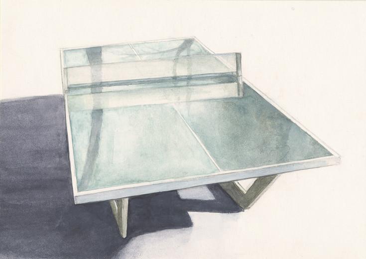 Serie Tischtennisplatte 2009 Aquarell/Papier 14,8x21cm