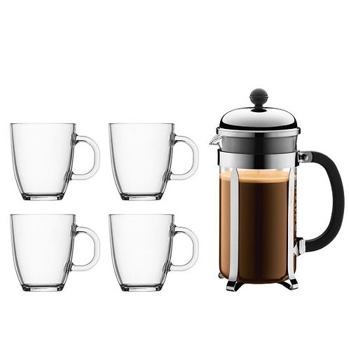Set Cafetière à piston BODUM 8 tasses (1 litre) + 4 mugs