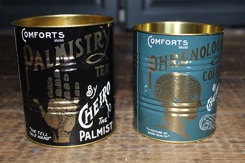 Phrenology and Palmistry Tea and Coffee Storage Tins