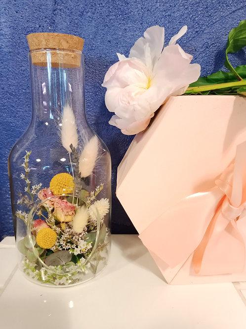 Bouteille en fleurs séchées
