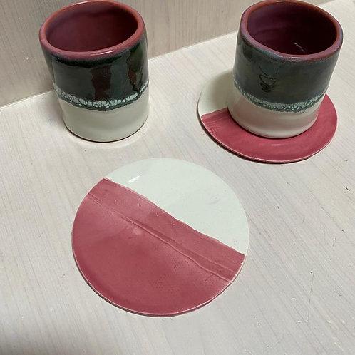 Sous-tasses Rose Framboise (par 2)