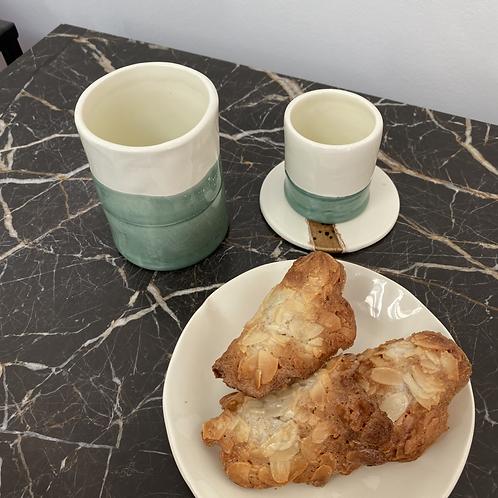Tasse à café allongé Vert d'eau