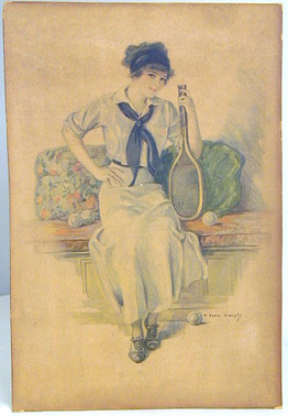 Early 1900's Tennis Lady Print by F. Earl Christy