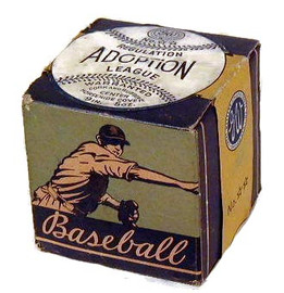 A 1930's Regulation Adoption League baseball still sealed in the original box. This baseball was distributed by the Great Western Athletic Goods company from Chicago, Illinois. Interestingly Wilson Sporting Goods (also located in Chicago) offered baseballs of the Adoption League variety but there is no known link between the two companies. The box features great baseball graphics and a unique paper seal that remains unbroken. The seal is the typical one inch wide paper band that goes around the entire box, but this seal is shaped like a baseball on the top panel. The baseball has markings on it which show what the baseball inside looks like. A scarce and high quality baseball, the first of it's kind that we have handled. The condition is solid EX-MT to NR-MT.