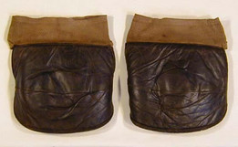 1910's Spalding Chocolate Brown Leather Basketball Knee Pads