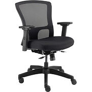 Interion 24 Hour Mesh Back Task Chair and Seat Slider – Fabric – Black