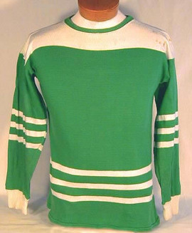 1930's Green and White Striped Hockey Jersey