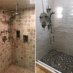 Before & After, Walls - 3x9 Ocean Sand Dollar Ceramic, Shower Floor - 1x1 Jura Silk Glass Mosaic