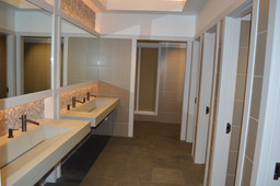 Floor - 12x24 Grafite Porcelain tile, Walls - 1x1 Buff Silk Glass Mosaic