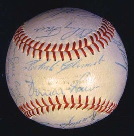 This a 1960 Pittsburgh Pirates Team Signed Baseball with Clemente, Law, etc. This baseball is an Official National League Baseball made by Spalding during the Warren Giles era. The baseball remains in gorgeous NR-MT to MINT condition and features the autographs of 22 members of the 1960 Pittsburgh Pirates Championship Team. Signatures include; Roberto Clemente, Vern Law, Bill Mazeroski, Harvey Haddix, Bill Virdon, Dick Groat and 16 others. All signatures are very bold with an overall grade of NR-MT!