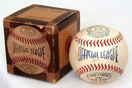 This antique baseball is a very scarce model and has never been used. It has the original box and is in EX-MT/NR-MT condition.