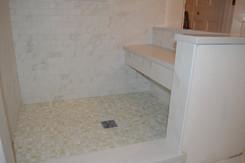 Shower Floor - 1x1 Asolo Pearl Glass Mosaic, Walls - 2x4 Bianco Carrara Porcelain