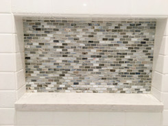 Walls 3x6 Ice White Ceramic Tile, Niche - 1/2x1 Bari Silk Glass