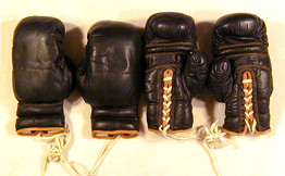 1920's Full Set (2 pair) of High Quality Black Leather Boxing Gloves