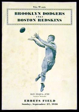 1936 Brooklyn Dodgers – Boston Redskins Program