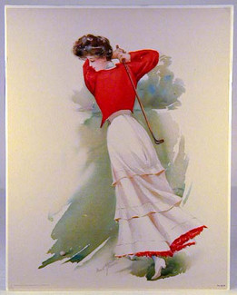 1908 Lady Golfer Lithograph Print