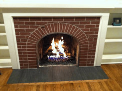 Surround - 2x7 Thin Brick Flat Field Tile, Hearth - 12x24 Nero Porcelain Tile