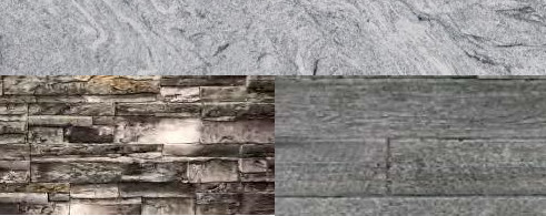 Gray Stacked Stone or Weathered Wood with Cloudy White countertop
