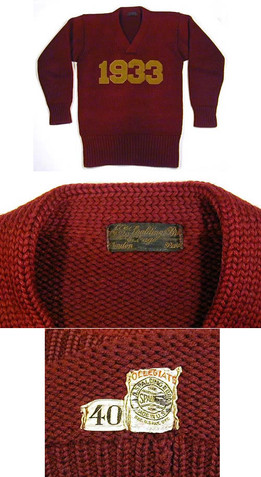 1933 Boston College Letter Sweater made by Spalding