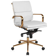 Flash Furniture Executive Swivel Chair – Mid Back – Leather – White – Gold Frame