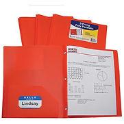 C-Line Products Two-Pocket Heavyweight Poly Portfolio Folder with Prongs, Orange – Pkg Qty 12