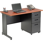 Interion Office Desk with 3 Drawers – 48″ x 24″ – Cherry