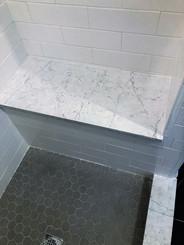 Walls - 4x12 Essential Cloud Matte Ceramic Tile, Shower Floor - 2 inch Light Smoke Hexagon, Bench -