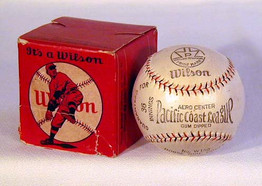 1920's Pacific Coast League Baseball in the Original Box. This great looking official Pacific Coast League baseball has the original box. The box features an early baseball graphic and grades VG while the baseball remains in MINT unused condition!