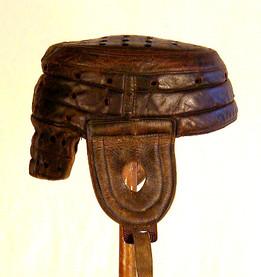 Turn of the Century Football Helmet - Spalding Leather Flat-Top