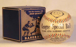 This is a 1920's K&L Red and Blue Stitched Baseball MINT in the Original Box. In 21 years this is the first time we have encountered the K&L brand. A great logo, incorporating a baseball within the diamond! This vintage baseball has lasted nearly 100 years in Gorgeous Near Mint condition!