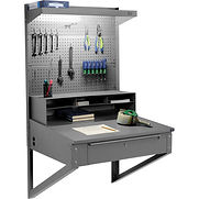 Wall Mount Shop Desk with Pigeonhole Riser, Pegboard Panel & Top Shelf 34-1/2″W x 30″D x 61″H – Gray