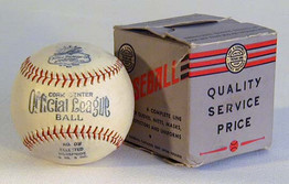 This wonderful early baseball was made by the Horace Partridge Sporting Goods Company from Boston, Mass. It dates to the 1930's and interestingly the original box features a logo which incorporates Horace Partridge, Lowe & Campbell and Treman King. All three were athletic goods manufacturers from in and about the New England states. The baseball is an Official League model and features a cork center. The markings on the baseball are vivid and bold as the ball appears to have never been used.