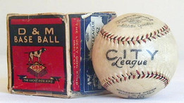 This is an outstanding black and red stitched baseball, box has partial seal but grades poor.
