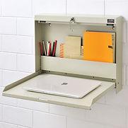Folding Wall Mount Shop Desk with Lock 20″W x 3-3/8″D x 16-3/8″H – Tan