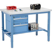 Pre-Configured Heavy Duty Height Adjustable Workbenches with Drawers and Lower Shelf