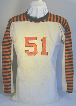 Late 1920's Football Jersey with Striped Sleeves