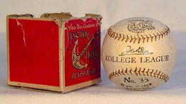 """his is a 1900-10's Anchor Brand """"College League"""" Baseball in the Original Box. Amazingly, this baseball has remained unscathed for all these years. This """"College League"""" model would have been made for the likes of Harvard, Yale, Princeton, etc... but never found it's way to the diamond."""
