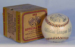 """1910's Double Header """"Official League"""" baseball in the original, and very unusual, box. The offered vintage baseball is very unique as it housed in its original two-piece box. The box is very sturdy and was made so purposely because it was meant to be used for shipping the baseball as well. One side of the box was designed specifically to print on it shipping information. Another panel explains that when the cover of the baseball becomes worn, you should return it in the box to have it re-built! The box was never used to send the baseball in for refurbishing and remains in excellent condition. The baseball appears to have never been used and grades NR-MT. These multi-color stitched baseballs continue to be a very popular area of baseball memorabilia collecting. In 21 years of being in business I have only seen a box like this one other time."""