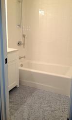 Floor - Blue Penny Round Mosaic, Walls - 6x6 Ice White Ceramic Tile