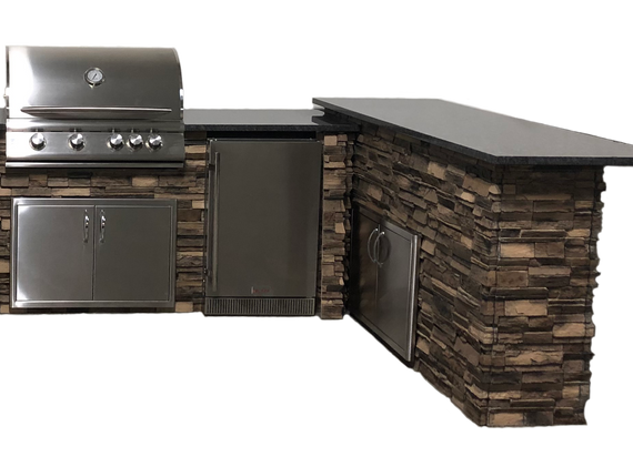 Stacked Stone Brown with Steel Gray Polished countertops; Bar Island paired with 6' Grill Island