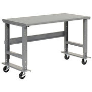 48″W x 36″D Mobile Adjustable Height C-Channel Leg Workbench – Steel – Gray