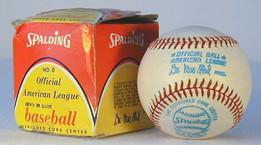 1970's Spalding Official American League Lee MacPhail Baseball MINT in the Original Box, early and tough MacPhail ball, box is VG-EX.