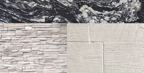 White Stacked Stone or Weathered Wood with Indian Black countertop
